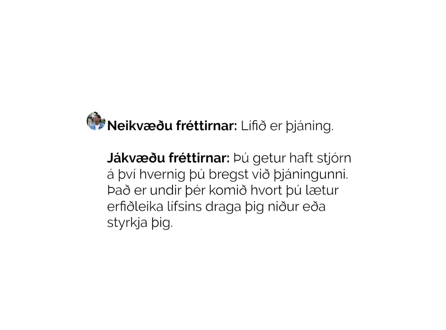 LÍFIÐ ER ÞJÁNING