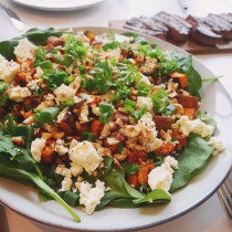 Roasted sweet potato salad with feta cheese