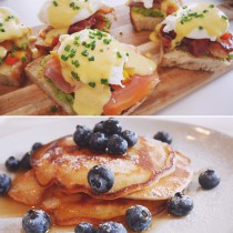 EGG BENEDICTS AND AMERICAN PANCAKES