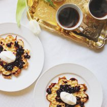 CRISPY WAFFLES WITH HOMEMADE BLUEBERRY SAUCE