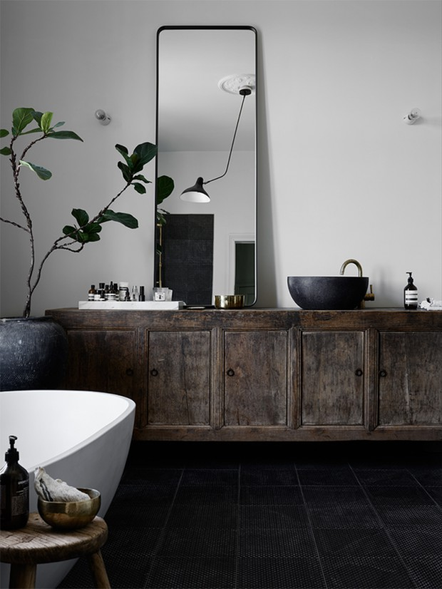bathroom-with-black-textured-floor-tiles-old-vintage-cabinet-big-green-plant
