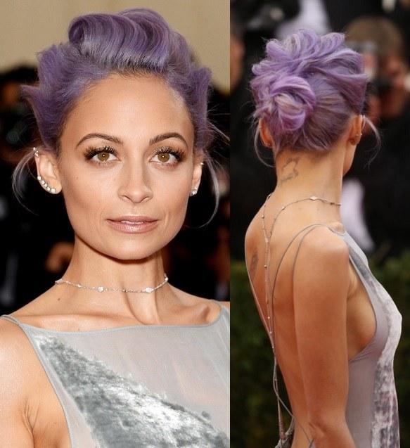 Nicole-Richies-Purple-Hairdo-At-Met-Ball-2014