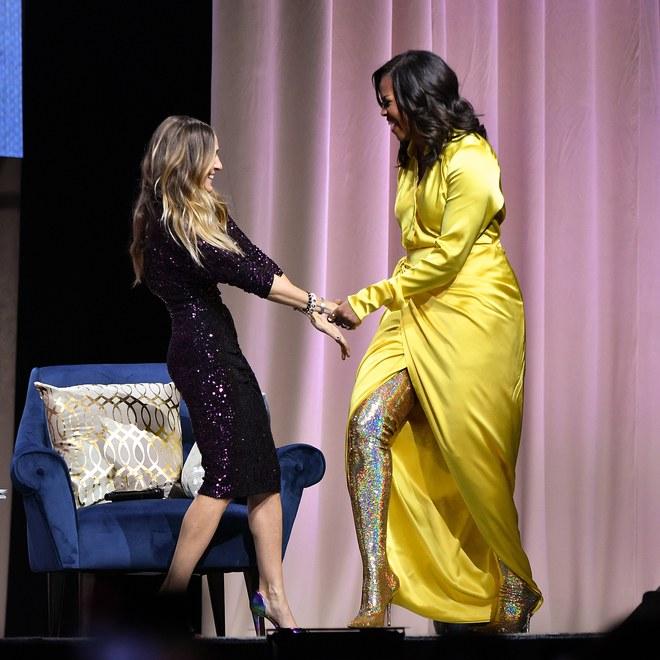 Michelle Obama geislaði í gulu